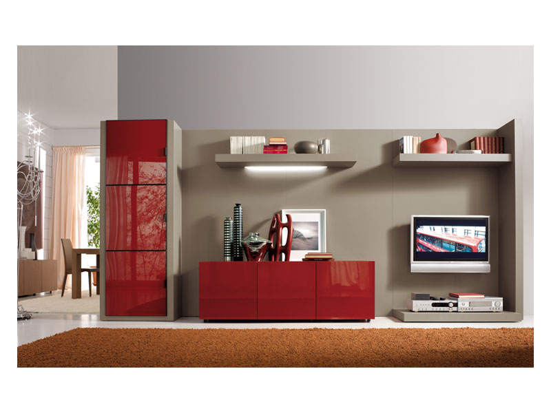Red Gloss Paint TV Cupboard