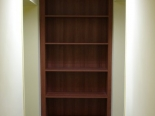 dark walnut office shelving unit