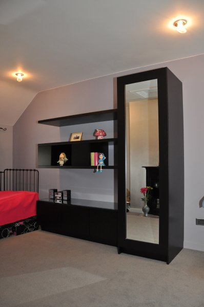 Spray painted black satin wardrobe