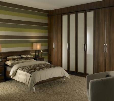 Dark Walnut Slab Door Wardrobe